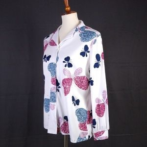 Vintage  Butterfly Print Button Up Blouse Sz Small